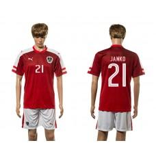 European Cup 2016 Austria home 21 Janko red soccer jerseys