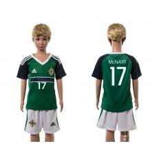 European Cup 2016 Northern Ireland home 17 McNair green kids soccer jerseys