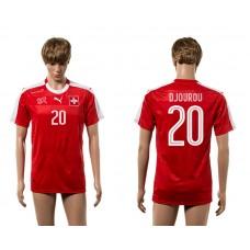 European Cup 2016 Switzerland home 20 Djourou red AAA+ soccer jerseys