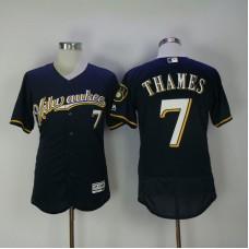 2017 Men MLB Milwaukee Brewers 7 Thames Blue Elite Jerseys 1