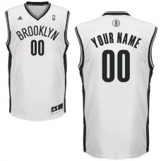 Men Adidas Brooklyn Nets Custom Replica Home White NBA Jersey