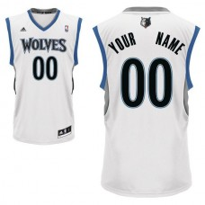 Men Adidas Minnesota Timberwolves Custom Replica Home White NBA Jersey