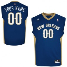 Men Adidas New Orleans Pelicans Custom Replica Road Navy Blue NBA Jersey