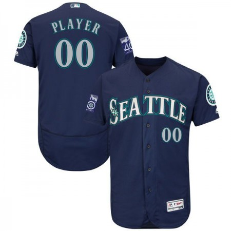 Men Seattle Mariners Majestic Alternate Navy Blue 2017 Authentic Flex Base Custom MLB Jersey with Commemorative Patch