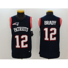 2017 Nike NFL New England Patriots 12 Brady Blue Men Stitched Limited Tank Top Jersey