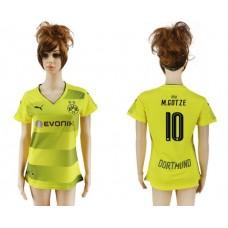 2017-2018 Club Dortmund home aaa verion women 10 yellow soccer jersey
