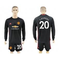 Men 2017-2018 club Manchester United black goalkeeper long sleeve 20 S Romero Soccer jersey