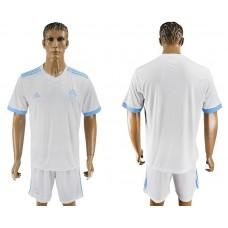 Men 2017-2018 club Marseille home blank white soccer jersey