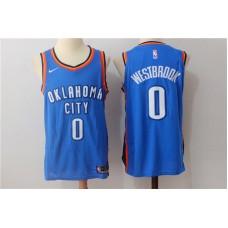 Men Oklahoma City Thunder 0 Russell Westbrook Blue New Nike Season NBA Jerseys