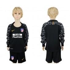 2017-2018 club Atletico Madrid goalkeeper black long sleeve kids soccer jerseys