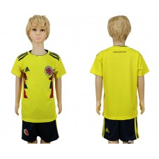2018 World Cup Colombia home kids blank yellow soccer jersey