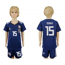 2018 World Cup Japan home kids 15 blue soccer jersey
