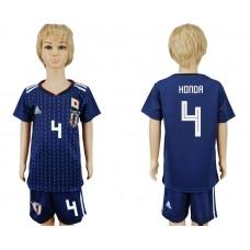 2018 World Cup Japan home kids 4 blue soccer jersey