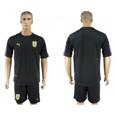 Men 2018 World Cup National Uruguay black goalkeeper soccer jersey