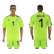 Men 2018 World Cup National Uruguay fluorescent green goalkeeper 1 soccer jersey