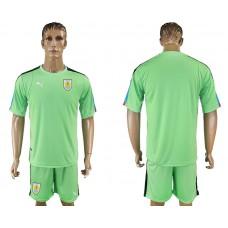Men 2018 World Cup National Uruguay green goalkeeper soccer jersey