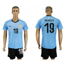 Men 2018 World Cup National Uruguay home 19 blue soccer jersey
