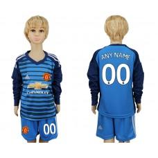 2017-2018 club Manchester united goalkeeper kids Long sleeve customized blue soccer jersey