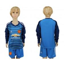 2017-2018 club Manchester united goalkeeper kids Long sleeve soccer jersey