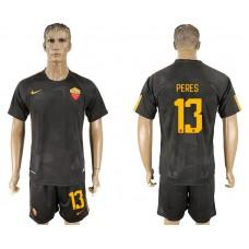 Men 2017-2018 club Rome away 13 black soccer jersey