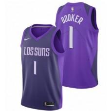 Men Phoenix Suns 1 Booker Purple City Edition Nike NBA Jerseys