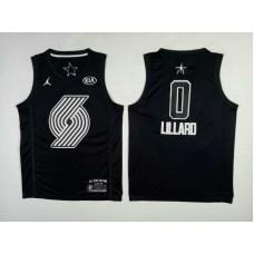 Men Portland Trail Blazers 0 Lillard Black 2108 All Stars NBA Jerseys
