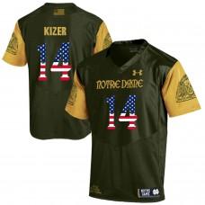 Men Norte Dame Fighting Irish 14 Kizer Green Flag Customized NCAA Jerseys