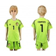 Youth 2018 World Cup Belgium fluorescent green goalkeeper 1 soccer jersey