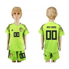 Youth 2018 World Cup Belgium fluorescent green goalkeeper customized soccer jersey