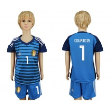 Youth 2018 World Cup Belgium goalkeeper 1 blue soccer jersey