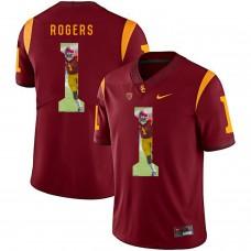 Men USC Trojans 1 Rogers Red Fashion Edition Customized NCAA Jerseys