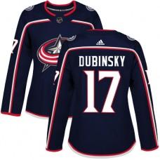 Adidas Columbus Blue Jackets 17 Brandon Dubinsky Navy Blue Home Authentic Women Stitched NHL Jersey