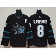 Adidas Men San Jose Sharks 8 Joe Pavelski Black Alternate Authentic Stitched NHL Jersey