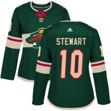 Adidas Minnesota Wild 10 Chris Stewart Green Home Authentic Women Stitched NHL Jersey