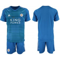 Men 2018-2019 club Leicester City blue goalkeeper soccer jersey
