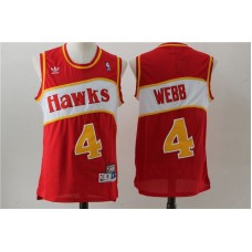 Men Atlanta Hawks 4 Spud Webb Red Stitched Throwback NBA Jersey