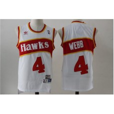Men Atlanta Hawks 4 Spud Webb White Stitched Throwback NBA Jersey