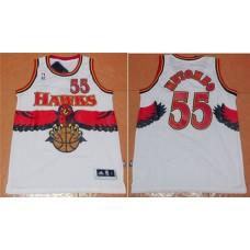 Men Atlanta Hawks 55 Dikembe Mutombo White Throwback Stitched NBA Jersey