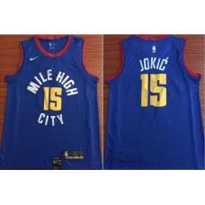 Men Denver Nuggets 15 Jokic Blue Game Nike NBA Jerseys