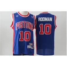 Men Detroit Pistons 10 Rodman Blue Throwback Stitched NBA Jersey