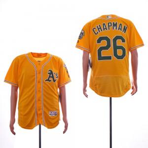 Men Oakland Athletics 26 Chapman Yellow Elite MLB Jerseys