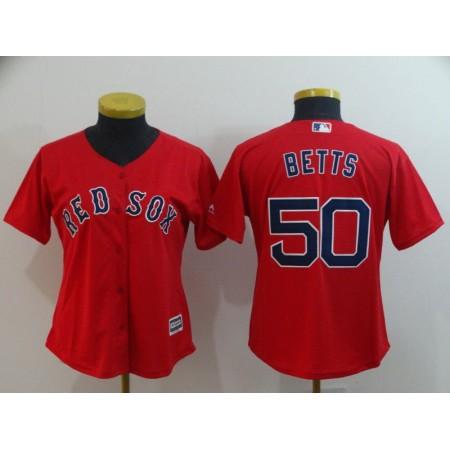 Women Boston Red Sox 50 Betts Red Game MLB Jerseys