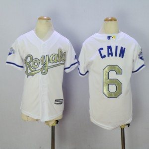 Youth Kansas City Royals 6 Cain White Champion MLB Jerseys