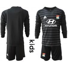 2018_2019 Club Olympique Lyonnais black long sleeve Youth goalkeeper black soccer jerseys