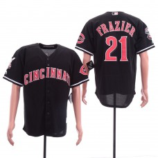 Men Cincinnati Reds 21 Frazier Black Game MLB Jerseys