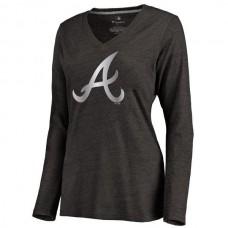2016 Atlanta Braves Women's Platinum Collection Long Sleeve V-Neck Tri-Blend T-Shirt  Black