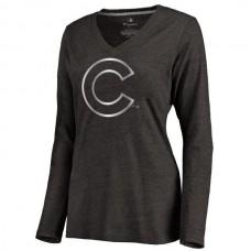 2016 Chicago Cubs Women's Platinum Collection Long Sleeve V-Neck Tri-Blend T-Shirt Black