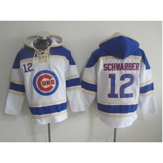 2016 MLB Chicago Cubs 12 Schwarber white Lace Up Pullover Hooded Sweatshirt