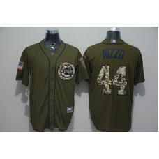 2016 MLB Chicago Cubs 44 Anthony Rizzo Green Salute to Service Stitched Baseball Jersey