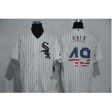 2016 MLB Chicago White Sox 49 Sale White USA Flag Fashion Jerseys